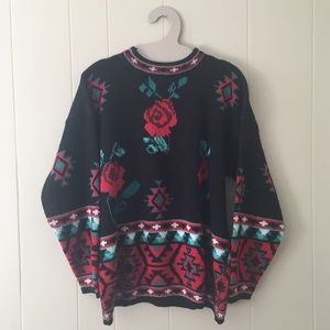 Vintage 80s/90s sweater tribal/roses pattern